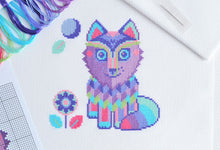 Load image into Gallery viewer, Maya the Wolf Cross Stitch Kit