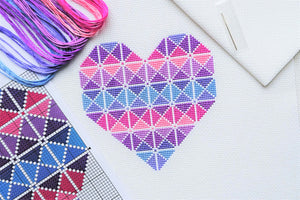 Purple Geometric Heart Cross Stitch Kit