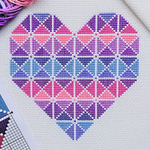Load image into Gallery viewer, Purple Geometric Heart Cross Stitch Kit