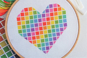 Rainbow Heart Cross Stitch Kit