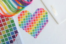 Load image into Gallery viewer, Rainbow Heart Cross Stitch Kit