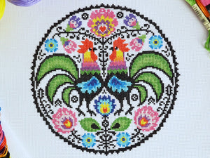 Folk Roosters Cross Stitch Kit