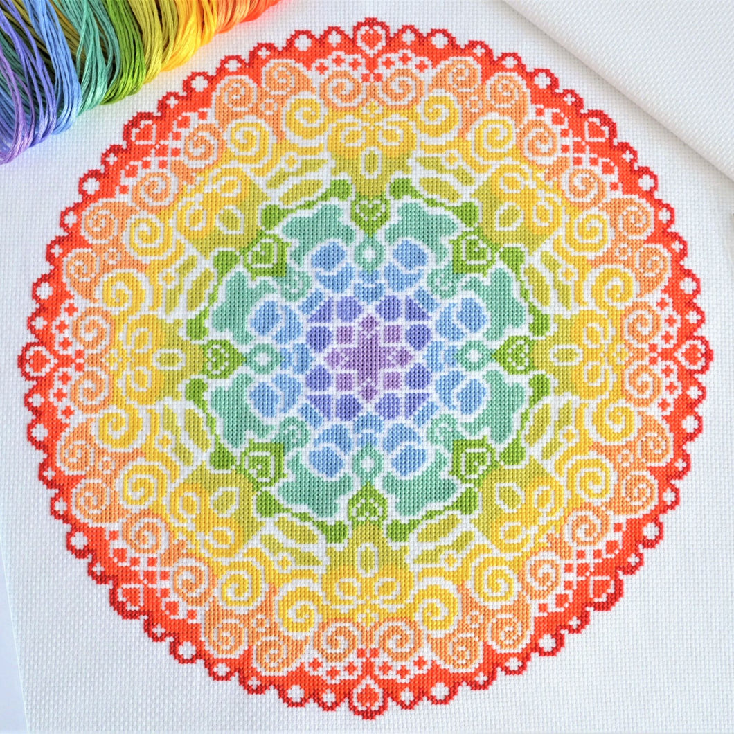 Spectrum Mandala Cross Stitch Kit