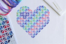 Load image into Gallery viewer, Striped Heart Cross Stitch Kit