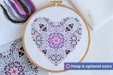 Load image into Gallery viewer, Vibrant Lace Heart Cross Stitch Kit