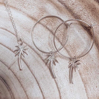 silver palmtree earrings