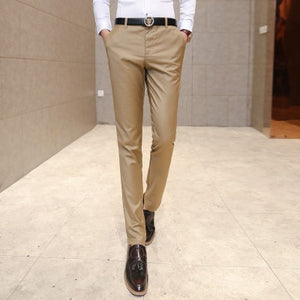 Men's clothing suit trousers /Male high-grade pure color slim Fit business Suit pants/Male high-end leisure thin leg pants