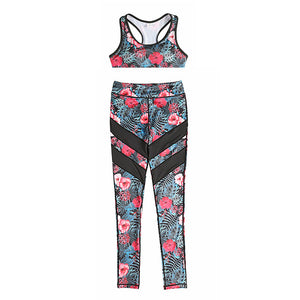 2Pcs Flowers Print Women Yoga Sets Fitness Bra+Pants Leggings Set Gym Workout  Sports Wear Mesh Patchwork  Running Clothing