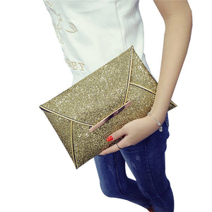 Women Glitter Sequins Handbag Party Evening Envelope Clutch Purse Wallet