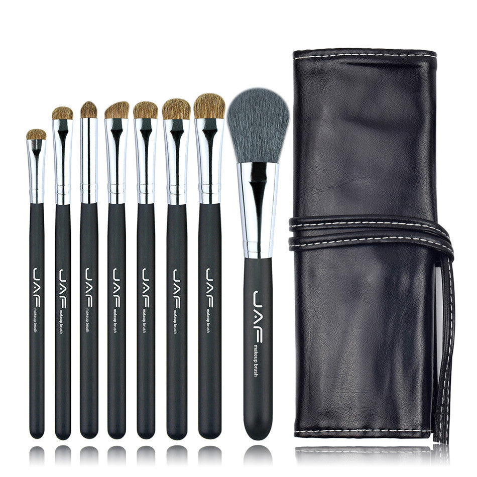 JAF 8 pcs MakeUp Brush Sets in Leather Makeup Brushes Kit Animal Hair professional Natural hair make up kit eyeshadow loose powder eyebrow contour J0811YC-B