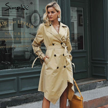 Load image into Gallery viewer, Simplee  Double breasted khaki outerwear coats Irregular long trench coat womenSash ruched casual outwear autumn winter 2018