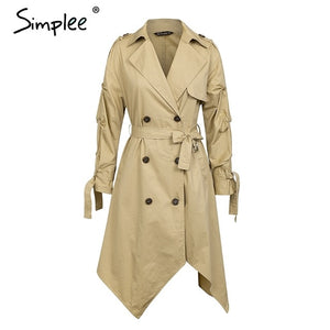 Simplee  Double breasted khaki outerwear coats Irregular long trench coat womenSash ruched casual outwear autumn winter 2018
