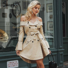 Load image into Gallery viewer, Simplee Sexy off shoulder trench coat women Elegant khaki outerwear coats Double breasted sash casual outwear autumn winter 2018
