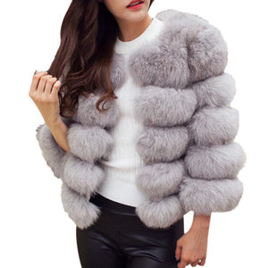 New 2017 Women Luxury O-Neck Winter Faux Fur Coats Jacket Female Warm Fur Waistcoats Thicken Outwear W12