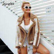 Load image into Gallery viewer, Simplee Elegant faux fur coat Women 2018 Autumn winter warm soft zipper fur jacket Female plush overcoat casual outwear