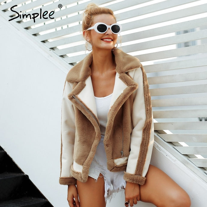 Simplee Elegant faux fur coat Women 2018 Autumn winter warm soft zipper fur jacket Female plush overcoat casual outwear