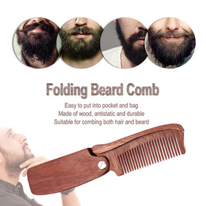 1x Sandalwood Beauty Comb Folding Travel Pocket Clip Hair Moustache Beard Comb