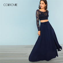 Load image into Gallery viewer, COLROVIE Navy Crop Lace Top & Knot Skirt Sexy Women Set High Street Split Mesh Two Piece Set 2018 Autumn Party Clothing Set