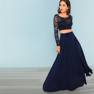 COLROVIE Navy Crop Lace Top & Knot Skirt Sexy Women Set High Street Split Mesh Two Piece Set 2018 Autumn Party Clothing Set