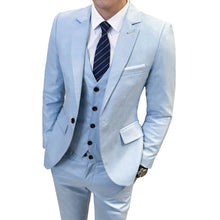 Load image into Gallery viewer, Suit + Vest + Pants 3 Pieces Sets / Men's One Buckle Business Groom Wedding Dress Suits Blazers Jacket Coat Trousers Waistcoat