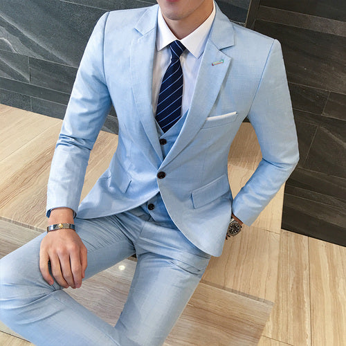 Suit + Vest + Pants 3 Pieces Sets / Men's One Buckle Business Groom Wedding Dress Suits Blazers Jacket Coat Trousers Waistcoat