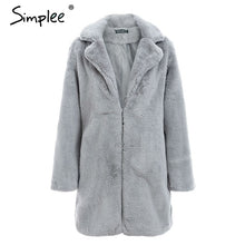 Load image into Gallery viewer, Simplee Elegant pink shaggy women faux fur coat streetwear Autumn winter warm plush teddy coat Female plus size overcoat party