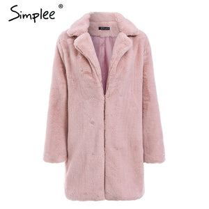 Simplee Elegant pink shaggy women faux fur coat streetwear Autumn winter warm plush teddy coat Female plus size overcoat party