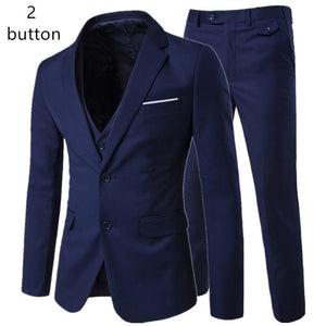 2018/ men's fashion Slim suits men's business casual clothing groomsman three-piece suit Blazers jacket pants trousers vest sets