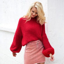 Load image into Gallery viewer, Simplee Winter lantern sleeve knitted sweater pullover Women loose round neck red sweater Female autumn casual sweater jumper