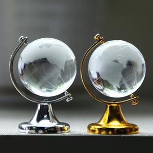 Metal Frame Artificial Crystal Globe Gift Home Ornament Crystal Ball Crafts Christmas Decoration for home Craft Ornament