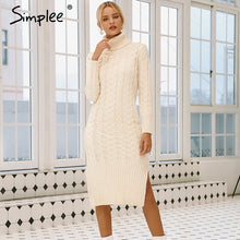 Load image into Gallery viewer, Simplee Elegant side split warm long sleeve women dress Turtleneck fit autumn winter sweater dress White dresses fashion 2018