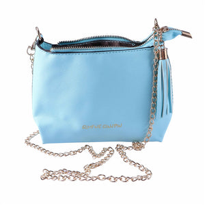 Shoulder Bag Chain Bag Cross-body Casual Satchel Simple Design for Women Girls Lady (Blue)
