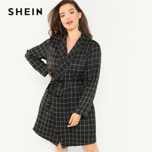 Load image into Gallery viewer, SHEIN Black Elegant Shawl Collar Office Lady Plus Size Belted Plaid Trench Coat 2018 Women Slim Fit Knotted Grid Wrap Outerwear