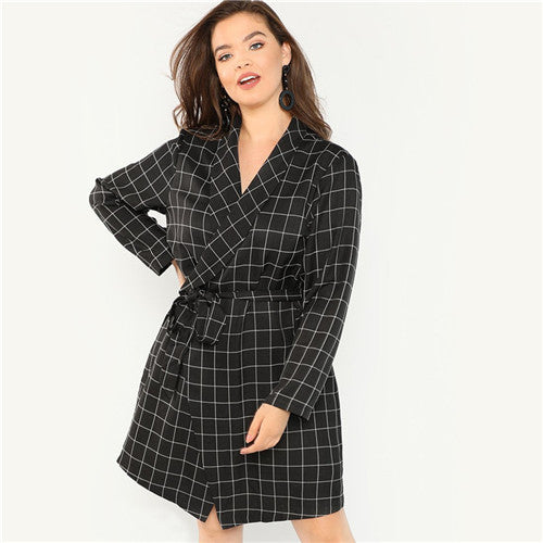 SHEIN Black Elegant Shawl Collar Office Lady Plus Size Belted Plaid Trench Coat 2018 Women Slim Fit Knotted Grid Wrap Outerwear