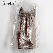 Load image into Gallery viewer, Simplee Sequin deep v neck backless sexy dress bodycon party dress Autumn winter strap women dress vestidos ladies dresses