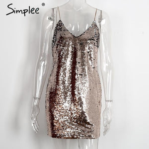 Simplee Sequin deep v neck backless sexy dress bodycon party dress Autumn winter strap women dress vestidos ladies dresses