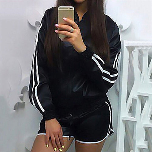 Women Fitness Gym Sports Wear Tracksuit Yoga Jacket Coat Short Hot Pants