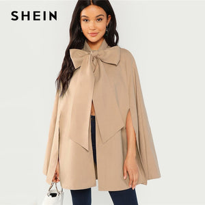 SHEIN Khaki Slit Back Tied Front Cape Coat Workwear Split Sleeve Outerwear Women Autumn Elegant Highstreet Modern Lady Coats