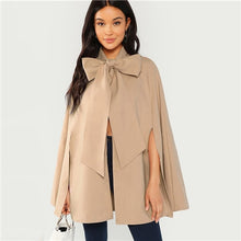 Load image into Gallery viewer, SHEIN Khaki Slit Back Tied Front Cape Coat Workwear Split Sleeve Outerwear Women Autumn Elegant Highstreet Modern Lady Coats