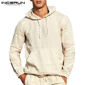 INCERUN Pullover Outwear Long Sleeve Men Hoodies Pullover Sweatshirts Plain Autumn Tops Hombre Fashion Hoody Button 3XL Jogger