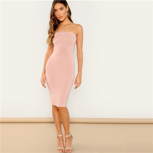 SHEIN Going Out Pink Bandeau Midi Bodycon Sleeveless Strapless Plain Dress Autumn Modern Lady Casual Women Dresses