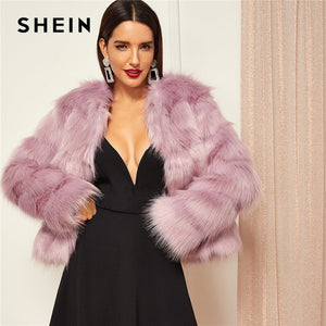 SHEIN Pink Highstreet Solid Open Front Faux Fur Coat 2018 Winter Fashion Thermal Women Coats And Outerwear