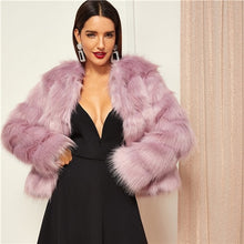 Load image into Gallery viewer, SHEIN Pink Highstreet Solid Open Front Faux Fur Coat 2018 Winter Fashion Thermal Women Coats And Outerwear