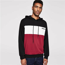 Load image into Gallery viewer, SHEIN Men Multicolor Casual Drawstring Color Block Letter Hoodie Sweatshirt Autumn Minimalist Mens Sweatshirts