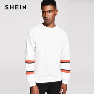 SHEIN Men White Striped Sleeve Sweatshirt Preppy Long Sleeve Round Neck Pullovers Casual Autumn Athleisure Sweatshirts