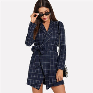 Sheinside Navy Plaid Trench Coat For Women Self Tie Wrap Outwear Autumn 2018 Office Ladies Workwear Shawl Collar Grid Long Coats