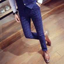 Load image into Gallery viewer, Fashion Youth Men Plaid Suit Pants Business Banquet Men's Casual Trousers Comfortable and Elegant