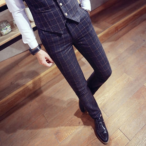 Fashion Youth Men Plaid Suit Pants Business Banquet Men's Casual Trousers Comfortable and Elegant