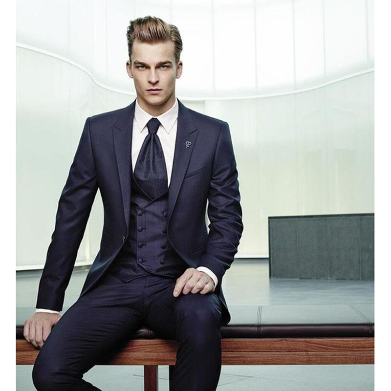 Men Suits Navy 3 Pieces Slim Fit Business Men Suit Set Custom One Button Wedding Dress Blazer Jacket Vest&Trousers