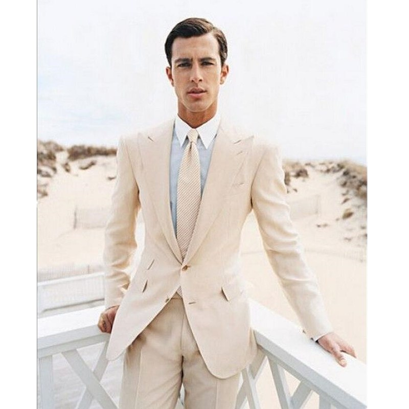 A man's suit with ivory lapel for the formal occasion of a man's wedding outfit (top + trousers)